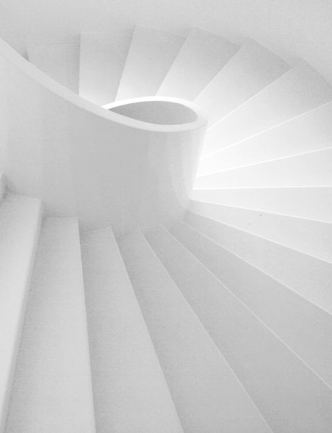 White, the totality of color, is the vehicle to limitless possibilities. #architecture #stairs #interiors