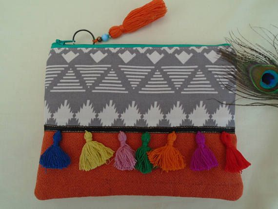 Handmade Cosmetic Makeup Bag, Boho Hippy Festival Tassels, Aqua Polka dot Cotton Lining Burnt Orange Woven Fabric Aztec Design Purse Gift