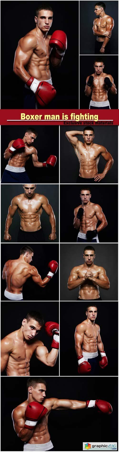 Boxer man is fighting, handsome muscular man, bodybuilding