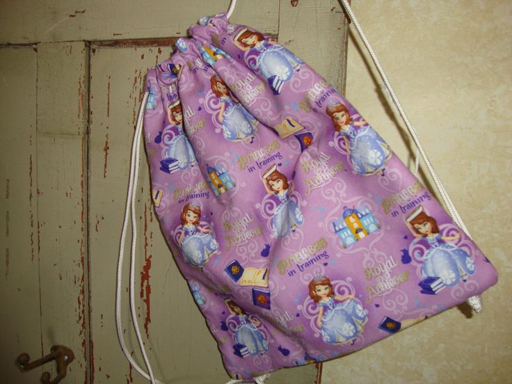 Sofia The First Childs Drawstring Bag by EYPDesigns on Etsy