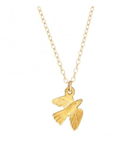 Fly Away With Me Bird Necklace in Gold