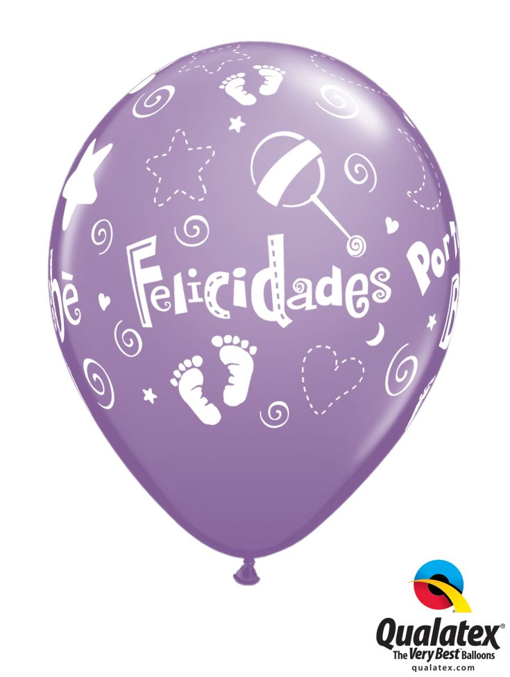 Congratulate new parents with this cute Felicidades Por Tu Bebe balloon. Shown in Spring Lilac, comes in a pastel assortment. #qualatex #balloon #coloroftheyear #pastel #baby