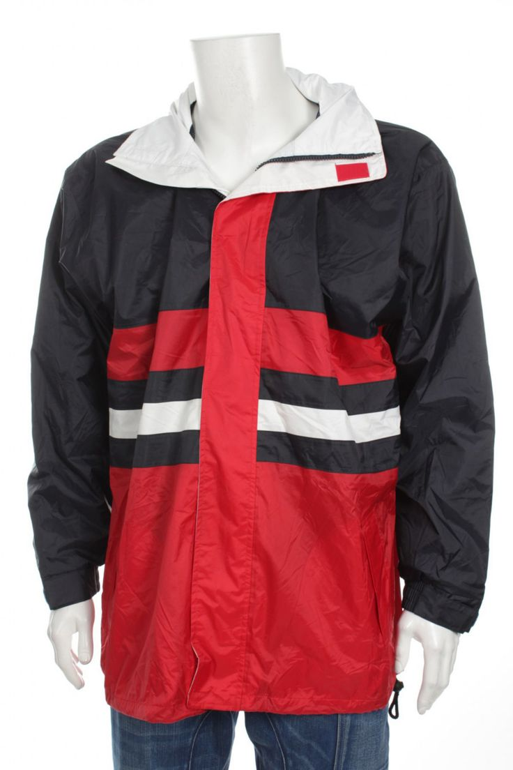 Vintage 90s USA Hip Hop Rap Style Multicolor Windbreaker jacket Color Block Red Black White Size L by VapeoVintage on Etsy