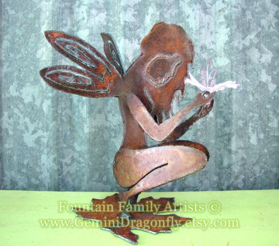 Rusty Garden Fairy Recycled Metal Garden Art or by GeminiDragonfly, $54.00