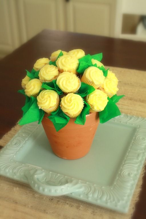 Flower Cupcake Centerpiece : Best cupcake flower pots ideas on pinterest