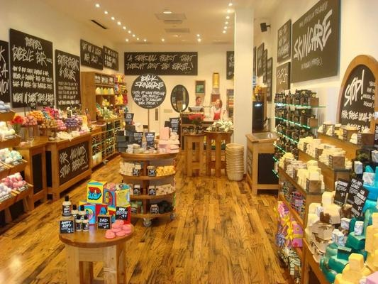Lush Handmade Cosmetics. Some of the greatest products ever invented. You can order online but going to a store is a great, unique experience.