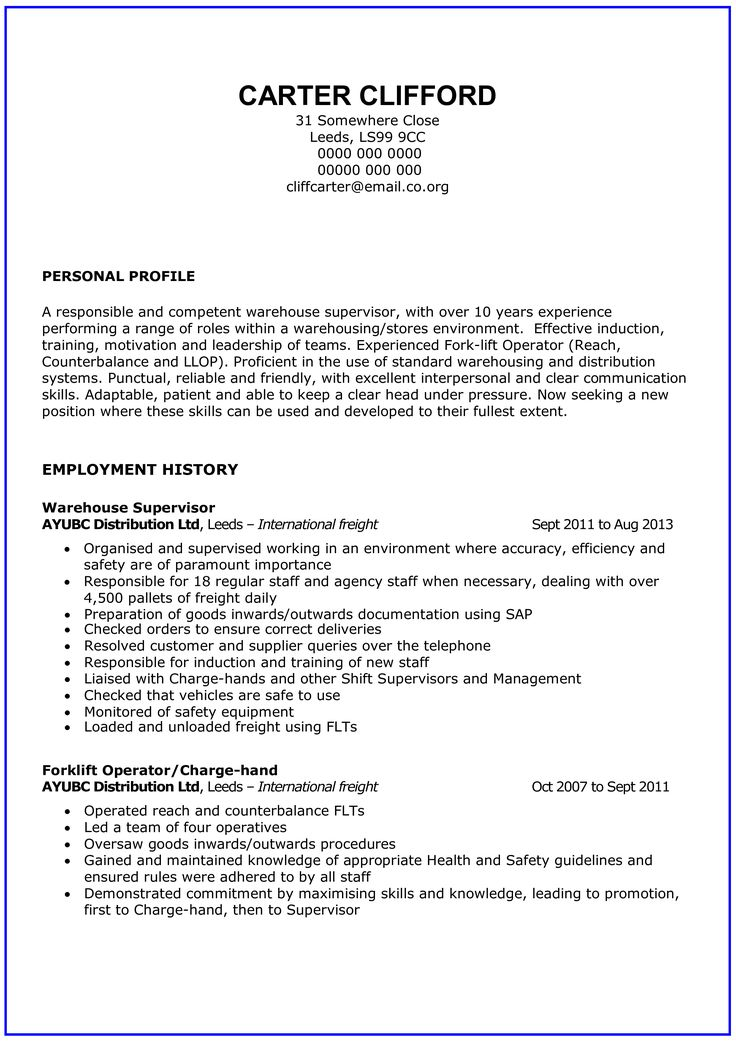 General Warehouse Worker Resume How to draft a General