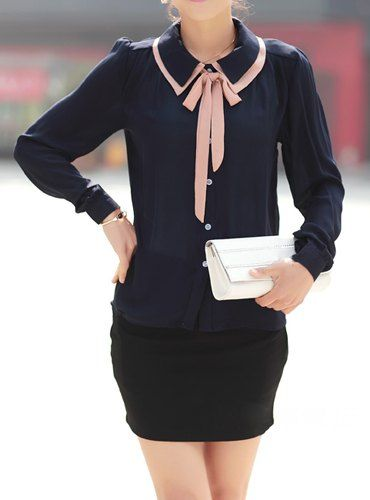 Sweet Peter Pan Collar Long Sleeve Color Block Chiffon Blouse For Women
