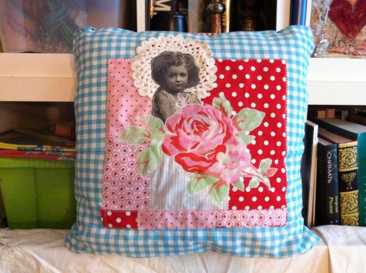 Cushion with applique #sewing #crafts #kids