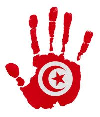 Handprints with Tunisia flag illustration