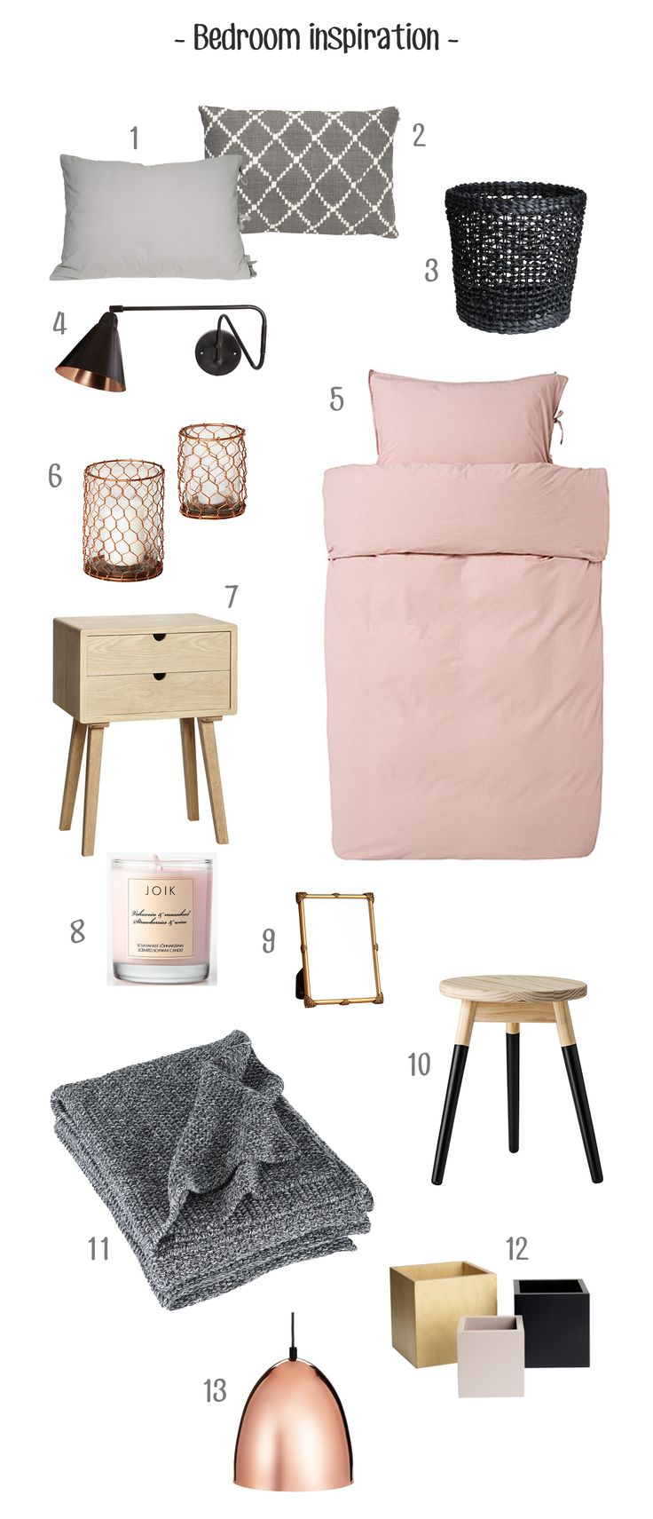 Bedroom inspiration: mix of grey, black, soft pink, copper and wood The colours i wish for my bedroom
