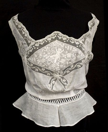 Hand embroidered camisole, circa 1905, via Vintage Textile archives - buy lingerie, lingerie boutique, aubade lingerie *ad