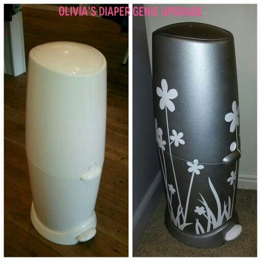 Spray painted diaper genie before/after