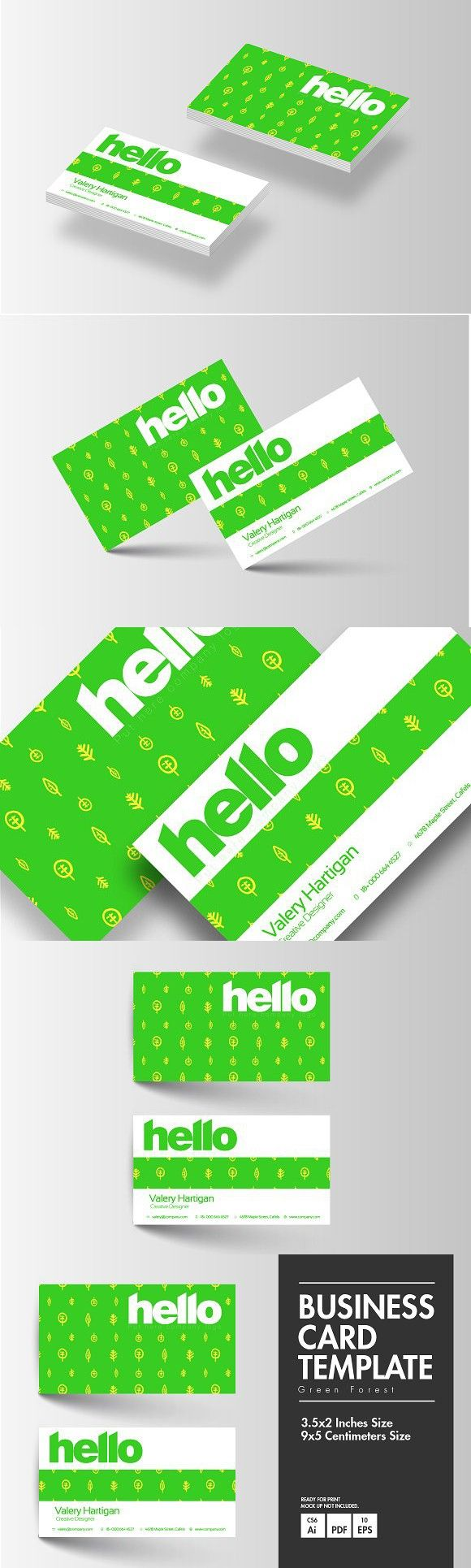 Business Card Green Forest Cards Adobe Illustrator Cs6 Business Cards