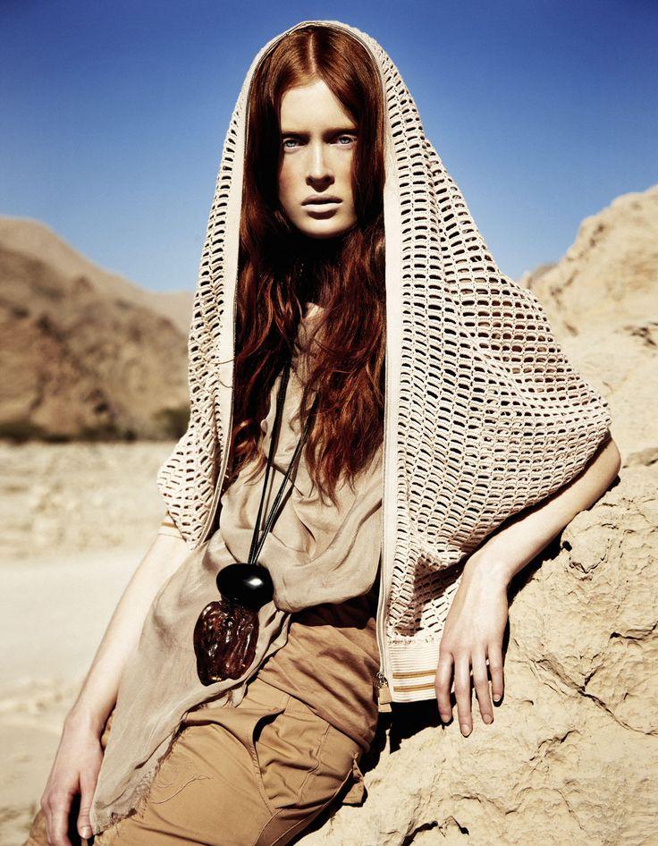 ilva hetmann photographed by sam bisso  for the editorial desert goddess in elle germany june 2012.