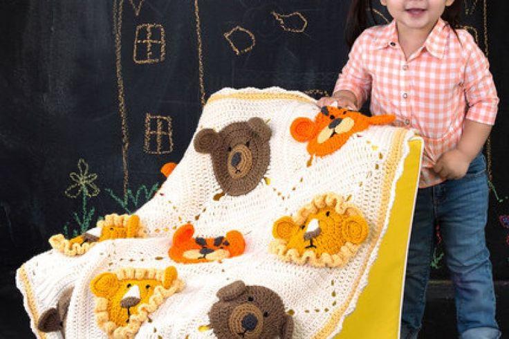 Lion Tiger Bear Blanket FREE Crochet Pattern