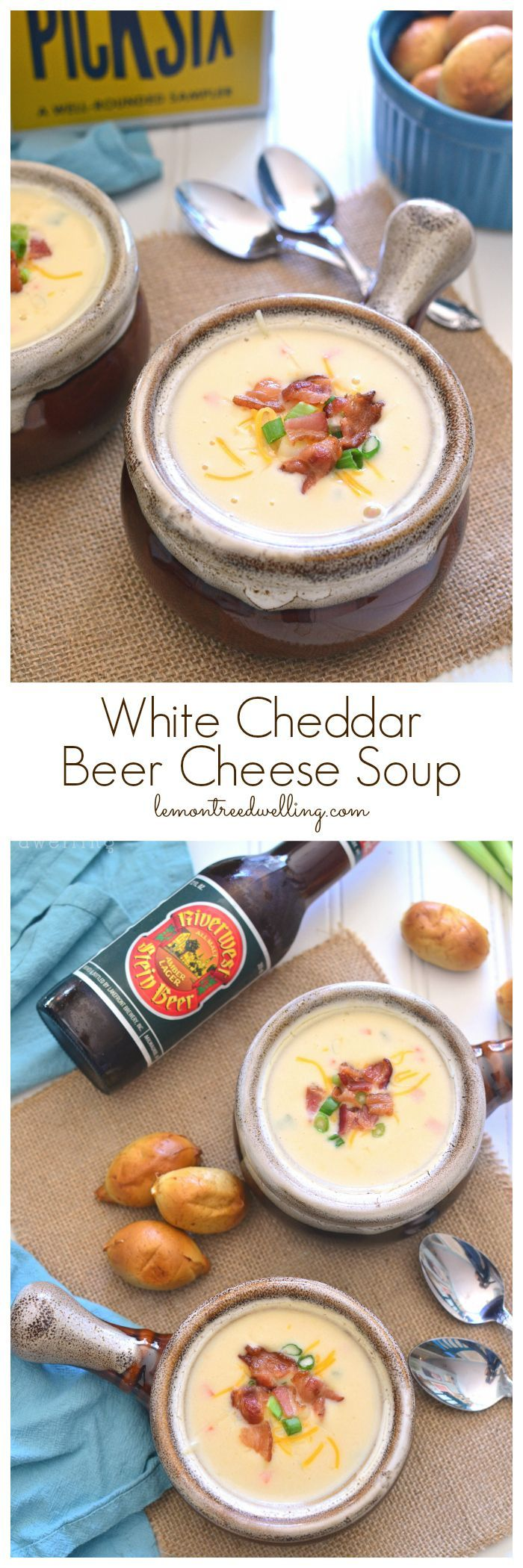 The BEST EVER White Cheddar Beer Cheese Soup! This soup is packed with flavor, easy to make, and perfect for the cold months ahead!