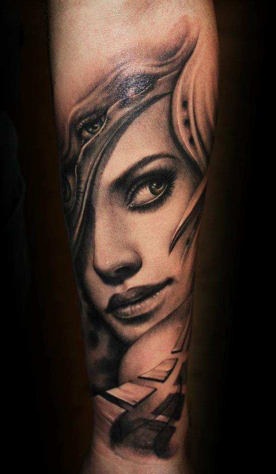 Realistic black and gray Face tattoo art by artist Riccardo Cassese