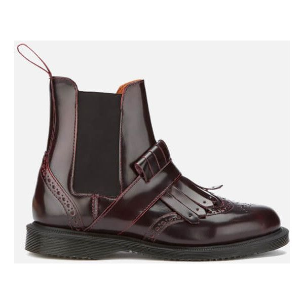 Dr. Martens Women's Tina Arcadia Leather Kiltie Chelsea Boots - Cherry... (€165) ❤ liked on Polyvore featuring shoes, boots, ankle booties, burgundy, burgundy ankle boots, flat ankle booties, flat leather booties, leather boots and chelsea boots