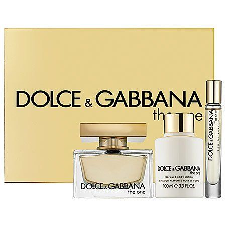 Dolce & Gabbana The One for Women Fragrance, 3 Count by Dolce & Gabbana. $99.95. The One is a warm, oriental floral, with modern sensuality - a fragrance with a strong personality, and a contrasting golden sweetness. Created for the ultimate diva, The One is at once tempting, modern, and glamorous, embracing a touch of classicism. The top notes radiate a vibrant luminosity, with a sun-touched citrus, while warm fruity notes of luscious lychee and succulent peach add to the del...