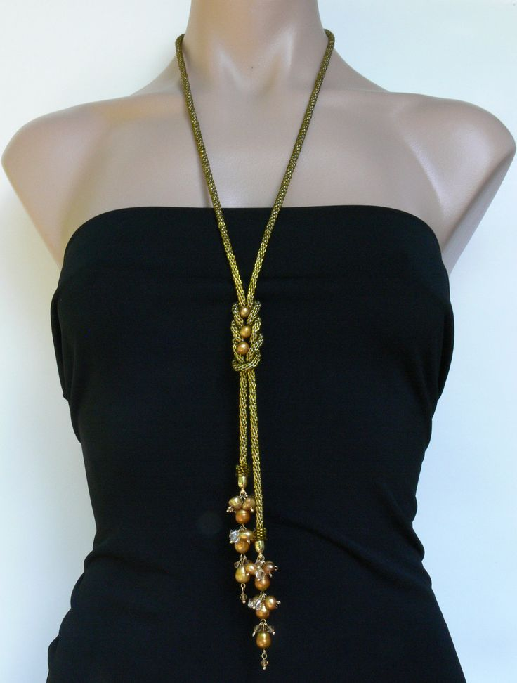 Beaded gold kumihimo necklace seed beads jewelry par 7PMboutique