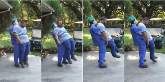 Heimlich Maneuver Costume:  You might need to take a second look to figure out what's really going on.