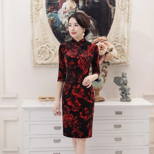 Black with Red Flowers Velour Half Sleeve Knee Length Cheongsam Evening Dress