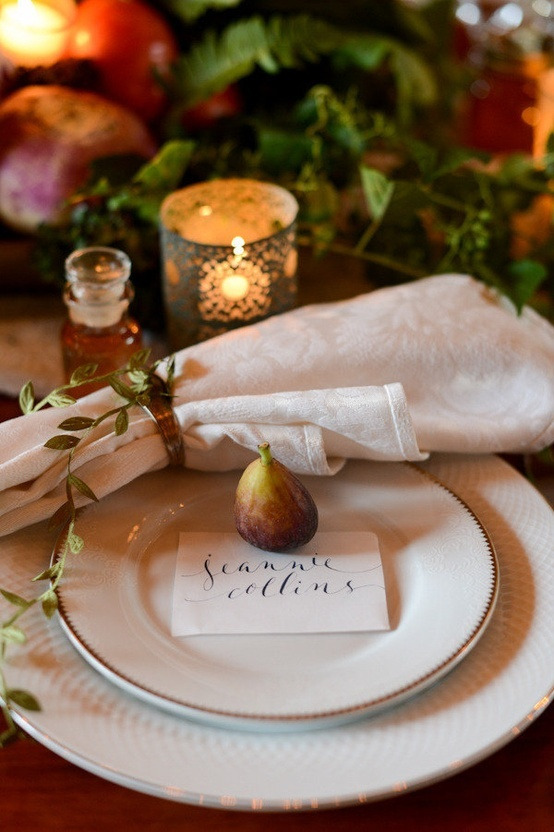 Sweet little figs to hold placecards.