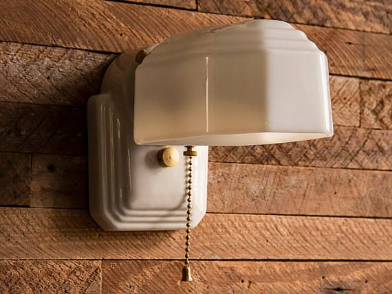 Milk Glass Bath Light: Vintage Farmhouse Rewired Porcelain Ceramic Sconce Wall