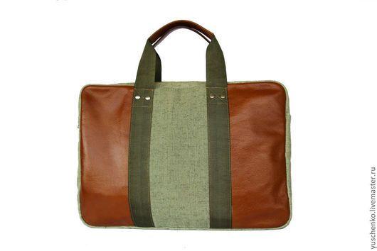 Мужские сумки ручной работы. Ярмарка Мастеров - ручная работа. Купить Мужская сумка. Handmade. Тёмно-зелёный, Кожаная сумка