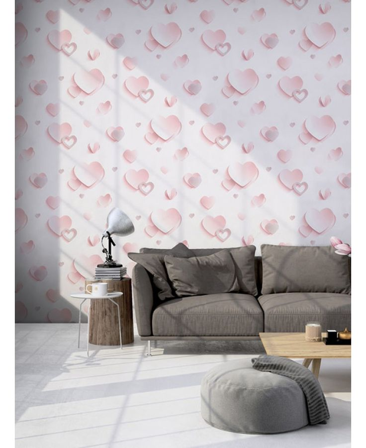 This fantastic 3D Hearts Wallpaper by Muriva will make a great feature in any room. The simple but effective design features hearts in a soft pink tone or highlighted in silver glitter, set on a pale pink background with clever shading creating the 3D effect.