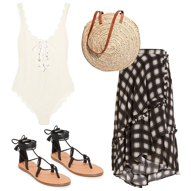 - Savor the season during which your bathing suit can still act as a top. Pair with a printed silk midi skirt and easy accessories and you've nailed that warm-weather party look.