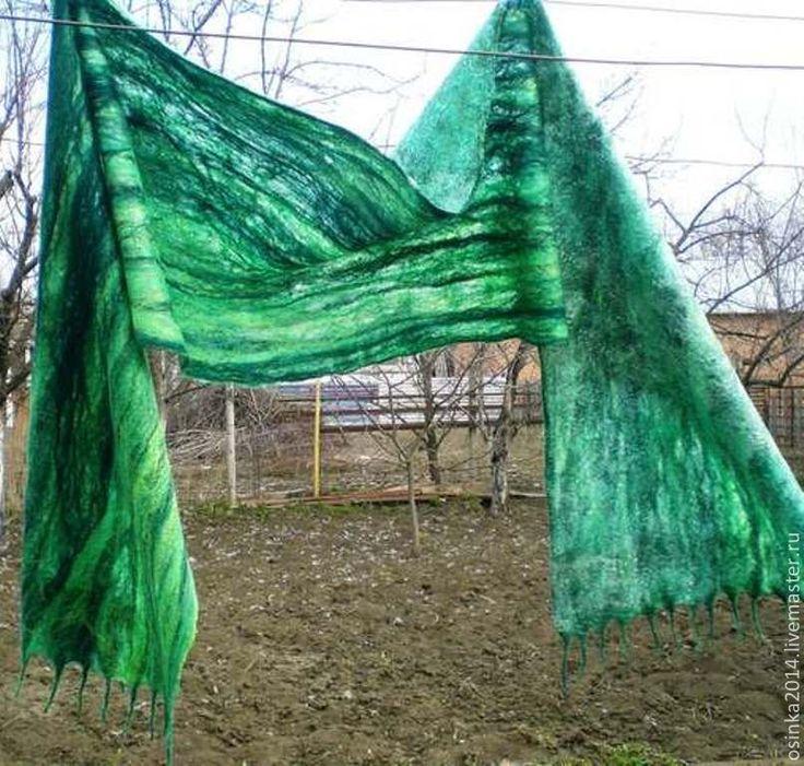 Шарф женский Весенняя свежесть. - зелёный,в полоску,шарф,палантин,валяные аксессуары