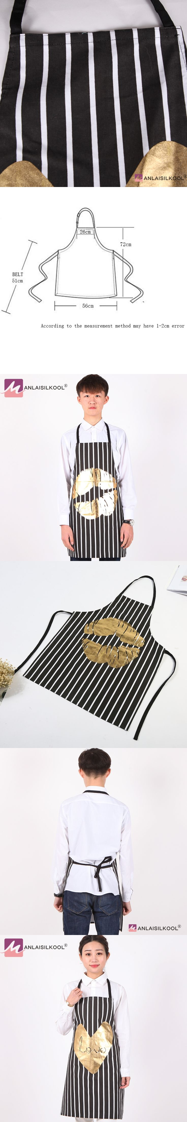 Hot Sell Striped Sleeveless Apron Kitchen Cleaning Sexy Lips Aprons Halterneck Restaurant Coffee Shop Work Apron Avental