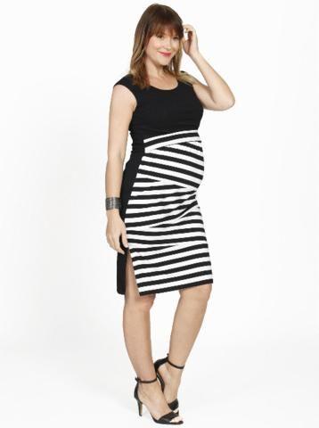 Breastfeeding Round Neck Dress in Zigzag Stripes