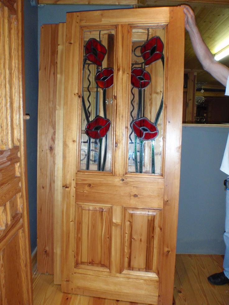 Red Poppy Victorian glass top door