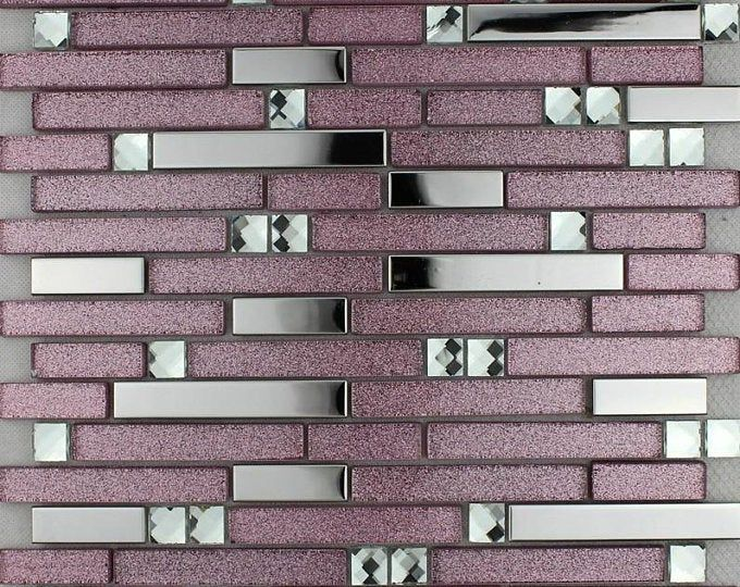 Gray And Rose Gold 11 7x11 7 Per Sheet Stone Etsy In 2020 Glass Mosaic Tile Backsplash Purple Glass Tiles Mosaic Tile Backsplash