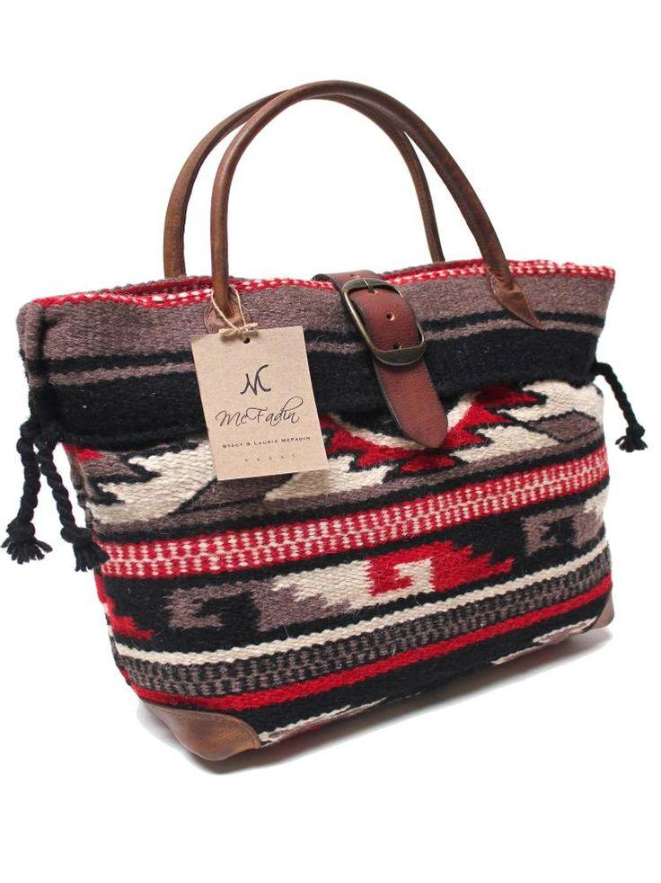 McFadin Wool Navajo Blanket and Leather Trim Women's Tote Bag 434F