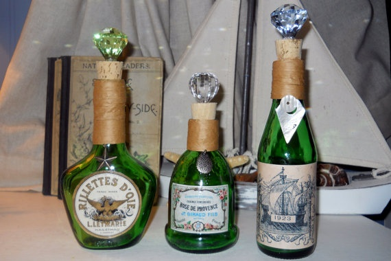 Vintage green glass set: these are great for storing your regularly used bathroom items such as bath bubble, bath salts, Epsom salts, mouthwash, astringent baby oil... the list goes on, display your everyday items in a pretty yet functional way!