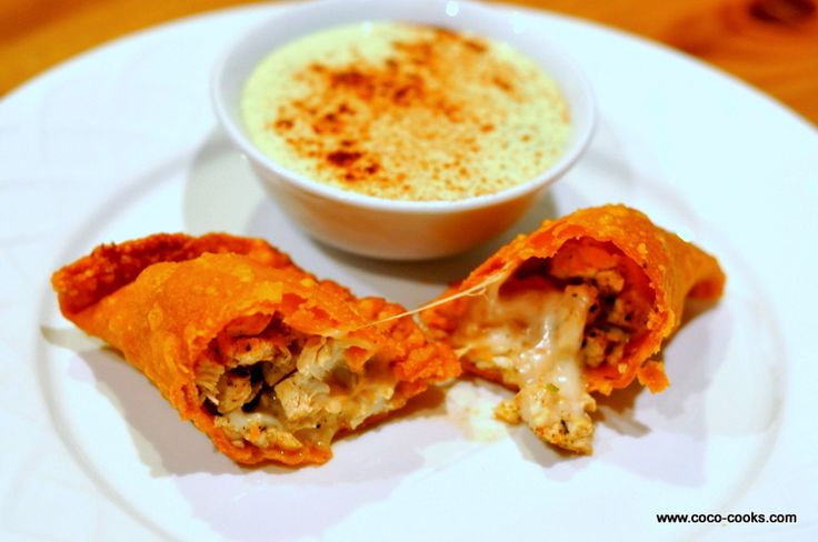 ... El Paso Beans, Chicken, Cheese Empanadas with Creamy Lime Cilantro Dip