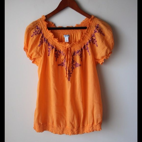 "Old Navy smock top Orange smocked top - soft elastic at hem, sleeves and neckline - embroidery design at neckline - front tie with keyhole - cotton - chest across measures 18"" - total length measures 24"" - size S Old Navy Tops"