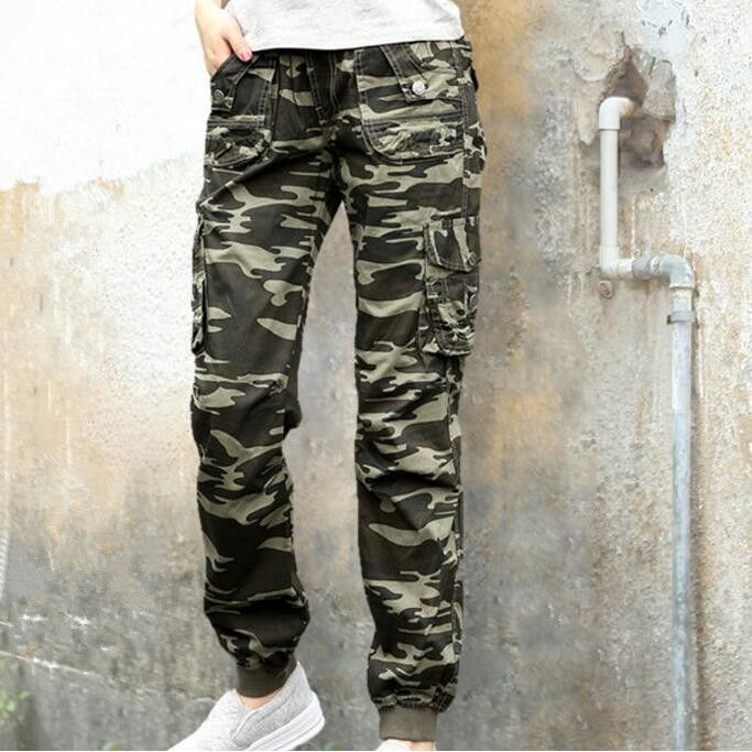 Camouflage Joggers Women Military Style Camo Cargo Pants 2017 New 100 Cotton Multi Pockets Ladies Casual on http://ali.pub/23ipx