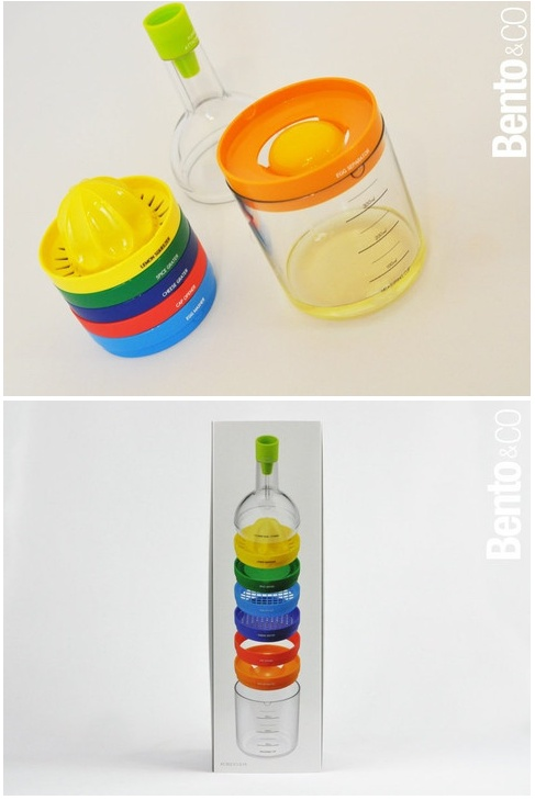 Bin 8 is a bottle with different tops for multiple uses: juicer, grater, scraper spices, egg slicer, egg white separator, jar opener, bottle opener, measuring cup and funnel.