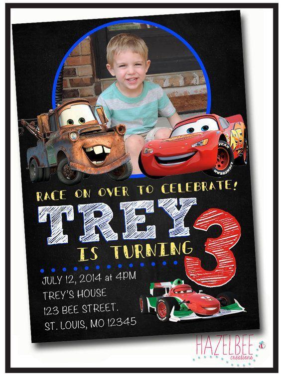 cars themed birthday invitations