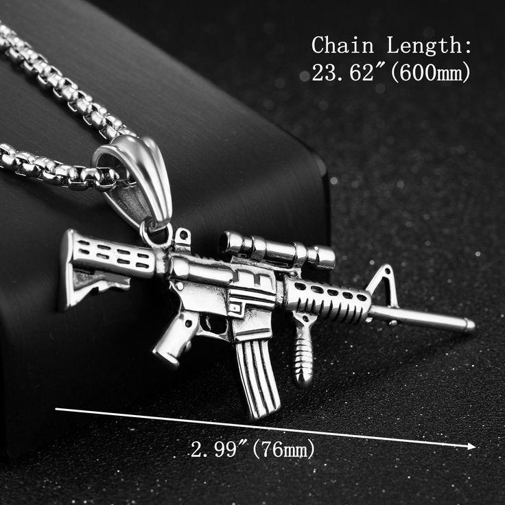316L Stainless Steel Men Silver Gold Black Gun Pendant Titanium Steel Charm Necklace
