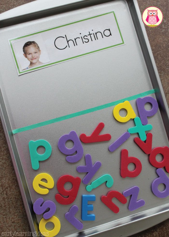 Kids are very interested in the letters in their names. Sorting letters with name cards is a great way to help kids learn the alphabet. A cookie sheet with a washi tape divider makes an excellent tray for sorting magnetic letters. This is a great literacy activity for preschool and pre-k.
