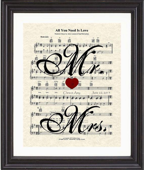 Custom, Mrs & Mrs, Names, Date, Wedding Song, First Dance, Sheet Music, Art Print, Love, Anniversary, Gift on Etsy, £13.26