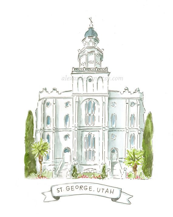 St. George Utah LDS Temple  Watercolor Painting by alexazdesign     #LDS #LDSTemples #LDSMemes
