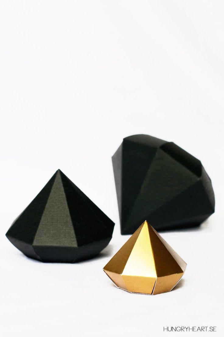Pappersdiamanter med gratis mall | HungryHeart.se