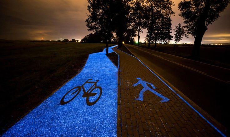 Polônia inaugura calçada e ciclovia que brilham à noite